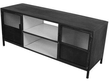 Fernseher Schrank in dunkel Grau und Weiß Eisen und Glas