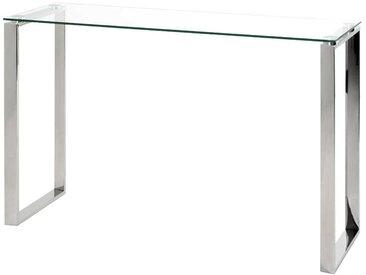 Wohnzimmertisch aus Edelstahl und Sicherheitsglas 120 cm breit