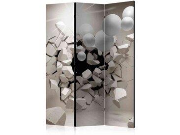 Leinwand Paravent mit 3D Motiv Grau und Weiß