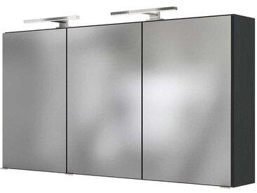 3D Spiegelschrank in Dunkel Grau LED Beleuchtung