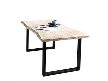 Baumkantentisch aus Eiche massiv White Wash geölt Metall Bügelgestell