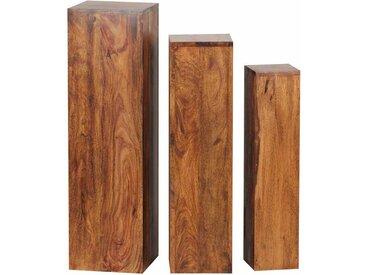 Pflanzensäulen Set aus Sheesham Massivholz lackiert (3-teilig)