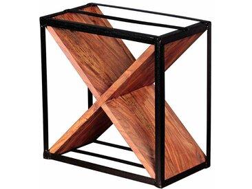 Design Weinregal aus Sheesham Massivholz Metall