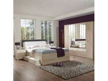 Schlafzimmer Einrichtung in Eiche Montana Weiß (4-teilig)