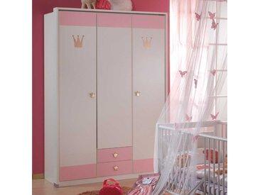 Kinderkleiderschrank in Weiß Rosa