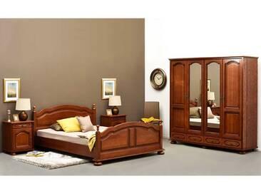 Schlafzimmerset in Eiche dunkel furniert klassisch antiken Design (4-teilig)