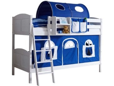 Kinderdoppelhochbett aus Kiefer Massivholz in Weiß Vorhang in Blau