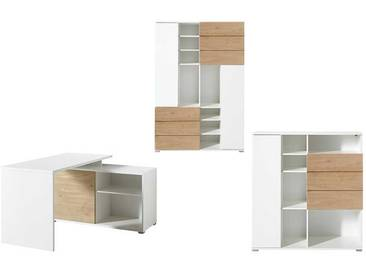 Büroeinrichtung in Weiß und Eiche kaufen (3-teilig)