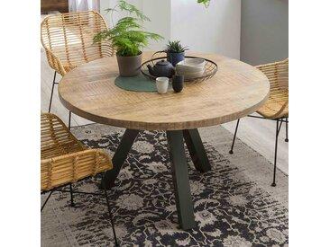 Runder Tisch aus Mangobaum Massivholz und Stahl Loft Design
