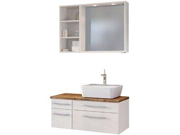 Waschplatz Set in Weiß und Wildeiche Dekor LED Beleuchtung (3-teilig)