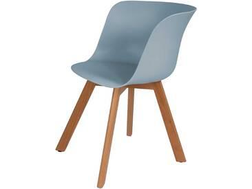 Küchenstühle in hell Blau Kunststoff vier Stuhlbeinen aus Massivholz (4er Set)