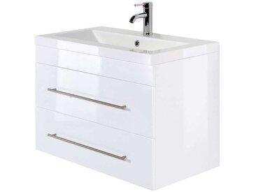 Waschtischkonsole in Weiß Hochglanz zwei Schubladen