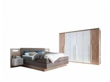 Schlafzimmer Einrichtung in Weiß Wildeiche mit amerikanischem Bett (4-teilig)
