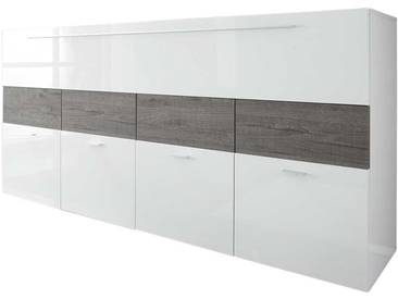 Wohnzimmer Sideboard in Weiß Hochglanz Eiche Grau modern
