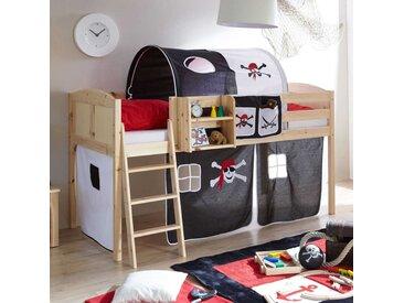 Kinderhochbett mit Piraten-Motiv Schwarz-Weiß