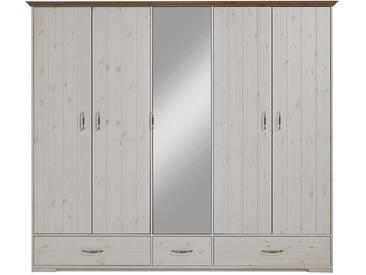 Landhaus Kleiderschrank in Weiß Spiegel