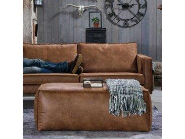Leder Hocker in Cognac Braun Sofa