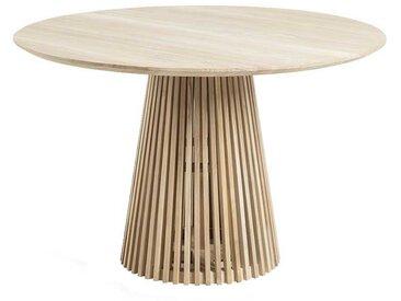 Massivholztisch mit Säulengestell runde Tischform