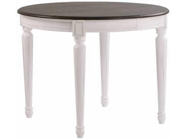 Landhaus Esstisch in Weiß Grau Oval ausziehbar