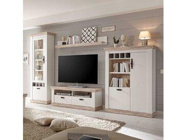 TV Anbauwand in Kiefer Weiß skandinavischen Landhausstil (4-teilig)