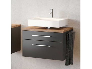 Waschbeckenschrank in dunkel Grau und Wildeiche Dekor zwei Schubladen