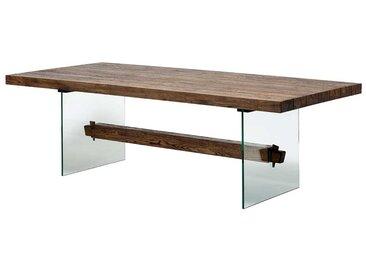 Designesstisch aus Asteiche Massivholz Glas Wangengestell