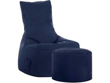 Sitzsack Sessel in Dunkelblau Hocker