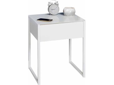Nachttisch in Weiß Glasplatte