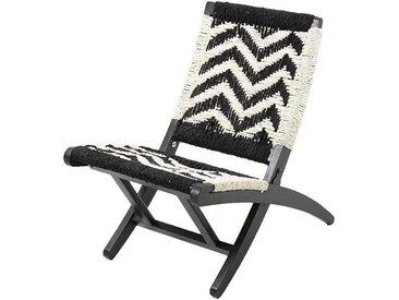 Klappstuhl in Weiß und Schwarz aus Geflecht und Massivholz