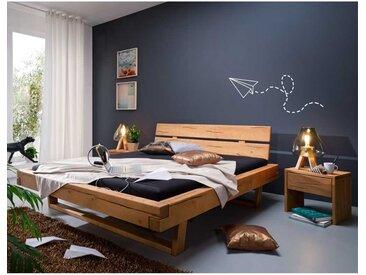 Doppelbett mit Nachtkonsolen Kiefer Massivholz (3-teilig)