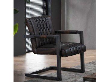 Freischwinger Stühle in dunkel Braun und Anthrazit Armlehnen (2er Set)