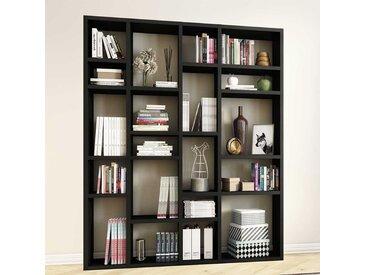 Bücher Regalwand in Eiche Schwarz Braun 220 cm hoch