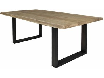 Baumkanten Esstisch aus Eiche Massivholz Stahl
