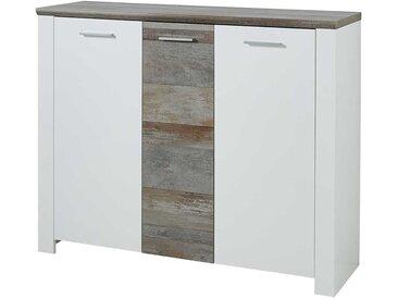 Garderobenschuhschrank in Weiß und Treibholz Optik 105 cm hoch