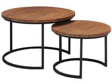 Sofa Beistelltisch Set aus Teak Massivholz und Metall rund (2-teilig)