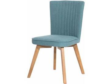 Retro Stuhl in Blau Stoff massiv (2er Set)