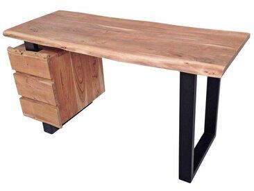Design Schreibtisch mit Baumkante Akazie Massivholz