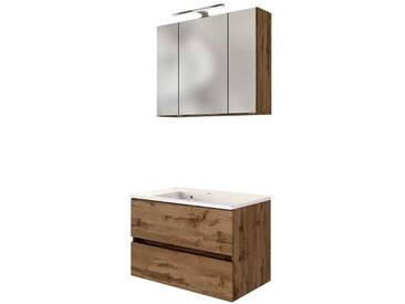 Spiegelschrank und Waschtisch in Wildeichefarben LED Beleuchtung (2-teilig)