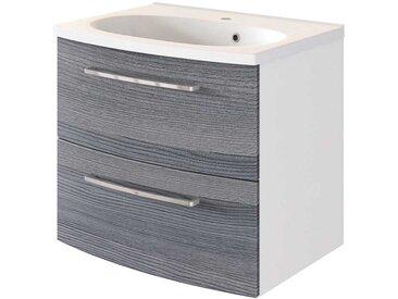 Waschschrank in Eiche Grau Optik und Weiß 60 cm breit