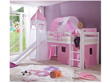 Mädchen-Spielbett mit rosa-weißen Textilien Rosa-Weiß