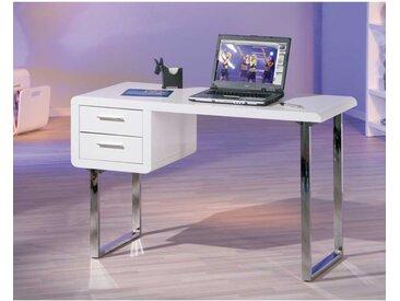 PC-Tisch in Weiß Hochglanz modern