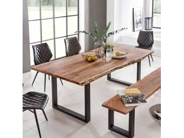 Baumkantentisch aus Akazie Massivholz Eisen