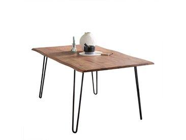 Baumkantentisch aus Akazie Massivholz 4-Fußgestell aus Metall