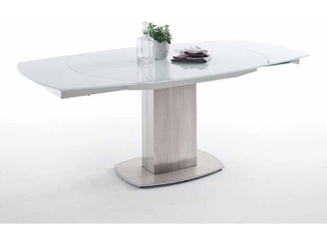 Esszimmertisch mit Glasplatte Weiß in Bootsform