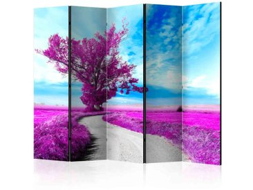 Leinwand Paravent mit violettem Baum Motiv 225 cm breit
