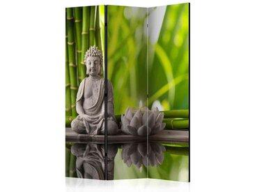 Spanische Wand mit meditierendem Buddha Grau und Grün