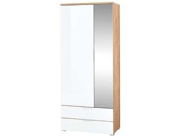 Flurschrank in Weiß Glas beschichtet und Eichefarben Spiegeltür