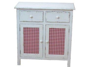 Küchenkommode in Weiß Rot kariert Shabby Chic