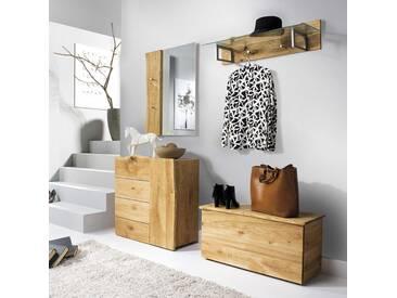 Baumkanten Garderoben Set aus Eiche Massivholz Landhausstil (4-teilig)