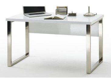 Bürotisch in Hochglanz Weiß 140 cm breit